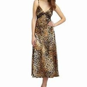 Other - Animal print silky long nightgown SMALL lingerie